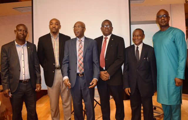 L-R: President of NITRA, Emma Okonji; Member in Council, Computer Professionals (Registration Council) Of Nigeria (CPN) , Chinenye Mba-Uzoukwu; President/Chairman-in-Council, Prof. Charles Uwadia; another member of the Council; Registrar/ Secretary to CouncilAllwell Achumba and Dr. Bayero Agabi, during a media forum organised by the CPN in Lagos