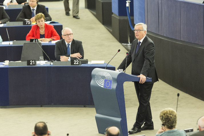 Le président Juncker lors du discours sur l'état de l'Union