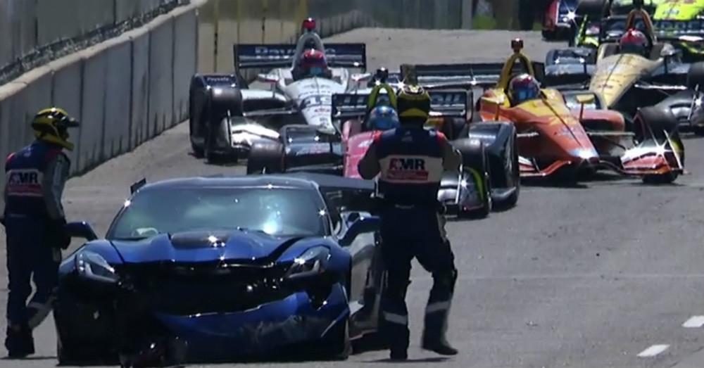 The Chevrolet Corvette ZR1 Pace Car Crashed During an IndyCar Race
