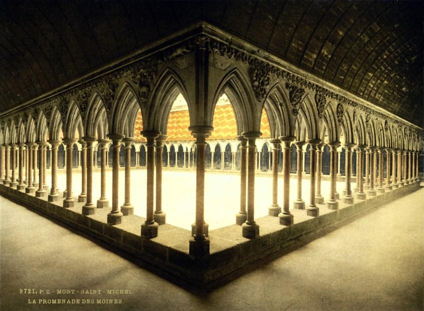 Monks'_cloister,_abbaye_de_Mont-Saint-Michel,_Normandy,_France,_ca._1895