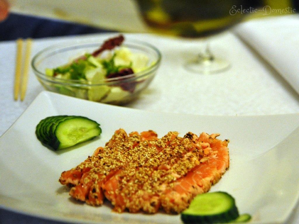 Sesame-crusted seared salmon sashimi