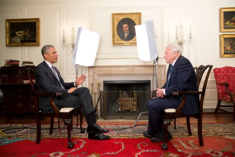 President Barack Obama participates in an Office of Digital Strategy taping with Sir David Attenborough of the BBC in the Map Room of the White House, May 6, 2015. (Official White House Photo by Chuck Kennedy) This photograph is provided by THE WHITE HOUSE as a courtesy and may be printed by the subject(s) in the photograph for personal use only. The photograph may not be manipulated in any way and may not otherwise be reproduced, disseminated or broadcast, without the written permission of the White House Photo Office. This photograph may not be used in any commercial or political materials, advertisements, emails, products, promotions that in any way suggests approval or endorsement of the President, the First Family, or the White House.