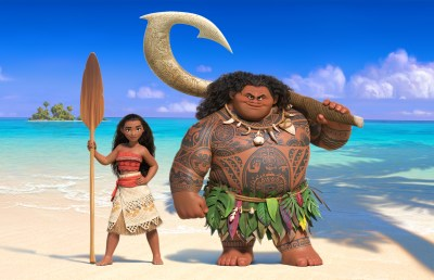 """In """"Moana,"""" Walt Disney Animation Studios' upcoming big-screen adventure, a spirited teenager named Moana (left) sails out on a daring mission to prove herself a master wayfinder. Along the way, she meets once-mighty demi-god Maui (right). Featuring Native Hawaiian newcomer Auli'i Cravalho as the voice of Moana, and Dwayne Johnson as the voice of Maui, """"Moana"""" sails into U.S. theaters on Nov. 23, 2016. ©2015 Disney. All Rights Reserved."""