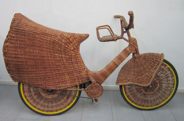 A Bicycle Made Of Natural Woven Fiber