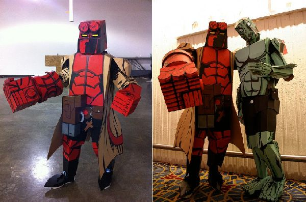 Cardboard Hellboy And Abe Sapien Costumes