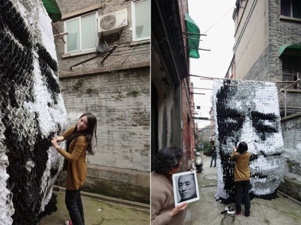 Extraordinary Portrait Made From 750 Pairs Of Socks