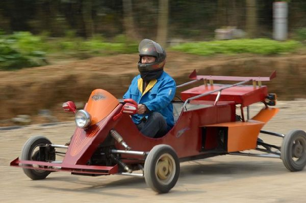 In focus: Man builds racing car from spare motorcycle parts