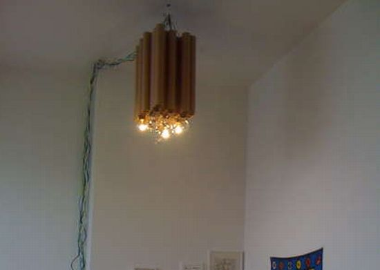 reclaimed cardboard tube chandelier