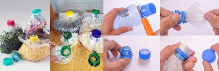 cerrar bolsas con botellas