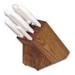 Dexter Russell Sofgrip (21008) 7 Piece White Handle Knife Set W/ Block