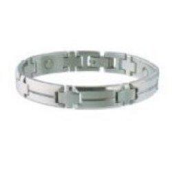 Sabona Of London Men'S Steel Sport Magnetic Bracelet, Small/Medium