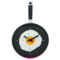 Present Time Silly Fried Egg Wall Clock, Red