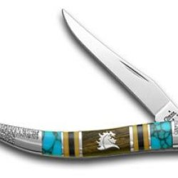 Case Xx Yellowhorse Logo Hard Wood Turquoise 1/1 Toothpick Pocket Knife Knives