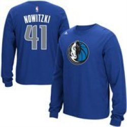 Mens Dallas Mavericks Dirk Nowitzki Adidas Royal Blue Name & Number Long Sleeve T-Shirt