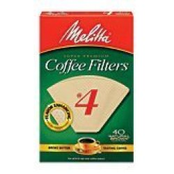 Melitta Cone Coffee Filters, Natural Brown, No. 4, 40-Count Filters