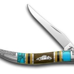 Case Xx Yellowhorse Hot Rod Car Hard Wood Turquoise 1/2 Toothpick Pocket Knife Knives