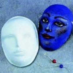 "School Specialty 464381 Decorative Paper-Mache Art Mask, 8"" X 6"" X 3"", White"