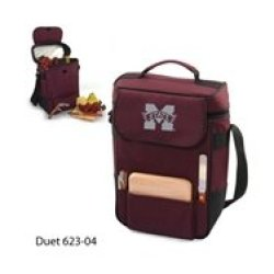 Collegiate - Duet Insulated Wine And Cheese Tote Mississippi State Bulldogs/Burgundy/Embroidered