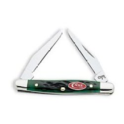 Case 09738 Pocket Worn Bermuda Green Bone Tiny Muskrat Knife W/ Red Shield