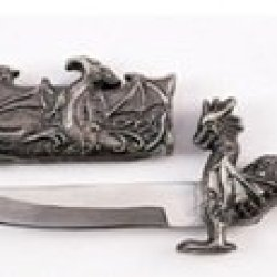 "4.75"" Pewter Fantasy Dragon Dagger W/ Sheath Cool Letter Opener Blade Knife"