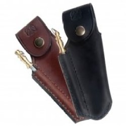 Finest Quality Leather Sheath For Laguiole With Sharpener | Black Direct From France