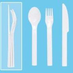 Tupperware On The Go Cutlery Set In Beige (Fork Spoon Knife)