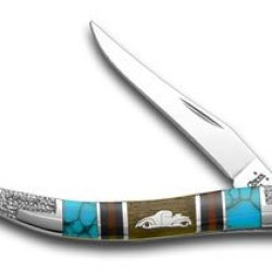 Case Xx Yellowhorse Hot Rod Car Hard Wood Red Jasper Turquoise 1/1 Toothpick Pocket Knife Knives