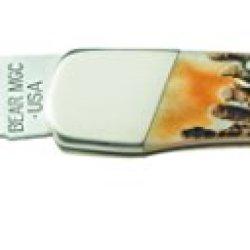 "Bear And Son 5"" Genuine India Stag Bone Lockback With Leather Sheath"