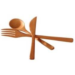 Totally Bamboo 3-Piece Set Bamboo Flatware, Fork, Knife And Spoon