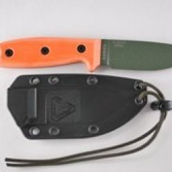 Esee-3 Fixed Blade Knife (Plain Edge, Olive Drab/Orange, Rounded Pommel, Brown Sheath)