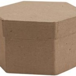 "Bulk Buy: Dcc Paper Mache Small Hexagon Box 4""X4""X1 1/8"" 28-4074 (6-Pack)"