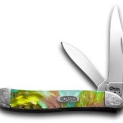Case Xx Engraved Bolster Series Genuine Abalone Corelon Peanut Pocket Knives