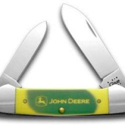 Case Xx John Deere Green And Yellow Delrin Canoe Pocket Knife Knives