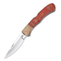 Buck *Custom Bucklock, Apple Coral Handle W-Mosaic Pins, Plain 532Le1