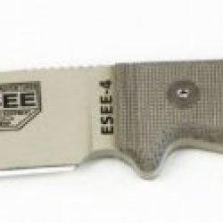Esee-4, Plain Edge, No Sheathing, Micarta Handles, Tan Blade
