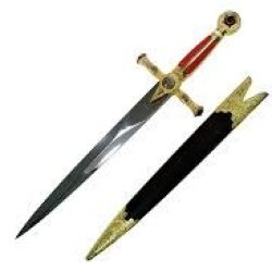 Red Mason Dagger With Red And Gold Handle