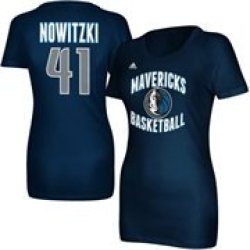 Women'S Dallas Mavericks Dirk Nowitzki Adidas Navy Blue Name And Number T-Shirt
