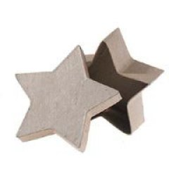 """4"""" Small Star Paper Mache Boxes With Lids - Package Of 12 Boxes"""