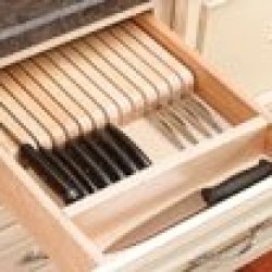 """Pro Pack Of 5Pcs, Drawer Tray Inserts, Wood, 18-1/2""""Wx 22""""D X 2-3/8""""H, Knife Block, Trim-To-Fit, Wood"""