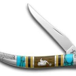 Case Xx Yellowhorse Chopper Hard Wood Turquoise Orange 1/2 Toothpick Pocket Knife Knives