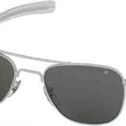 Ao American Optical Original Pilot Sunglasses Matte Chrome 52Mm Bayonet Temples