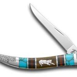 Case Xx Yellowhorse Cougar Hard Wood Turquoise 1/1 Toothpick Pocket Knife Knives