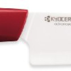 Kyocera Revolution Series 5-1/2-Inch Santoku Knife, Red Handle