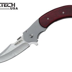 "Wartech 8"" Assisted Open Folding Tactical Pocket Knife Silver Water Mark Blade Wooden Handle"