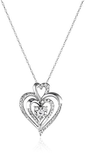 10k White Gold Diamond Heart Pendant Necklace (1/4 cttw