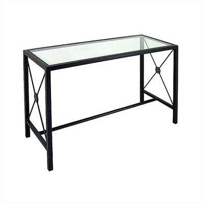 Image of Large Console Table w/ Glass Insert Metal Finish: Cobblestone, Side Panel: French Traditional (CN4919-FT (CS))