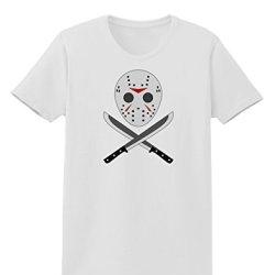 Scary Mask With Machete - Halloween Womens T-Shirt - White - Medium