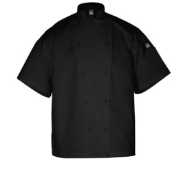 Chef Revival J005Bk Poly Cotton Knife And Steel Short Sleeve Chef Jacket With Black Chef Logo Button, X-Small, Black