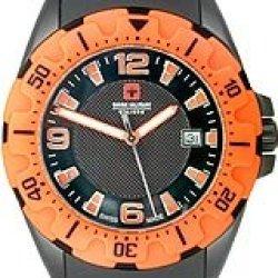 Swiss Military Calibre Men'S 06-4M1-13-007.79 Marine Black Pvd Orange Bezel Rubber Date Watch