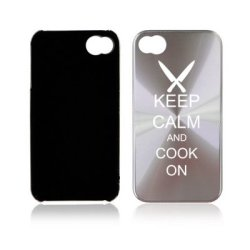 Apple Iphone 4 4S 4G Silver A1171 Aluminum Hard Back Case Cover Keep Calm And Cook On Chef Knives